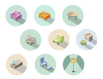 Vector isometric set of modern living room furniture, home constructor. Stock Photo