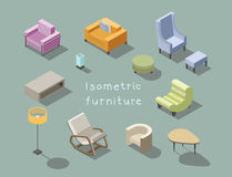 Vector isometric set of modern living room furniture, home constructor. Royalty Free Stock Photography