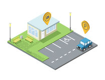 Vector isometric set of  parking place geo tag pin icon, fast food sign Royalty Free Stock Image