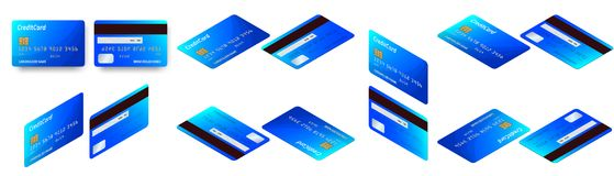 Vector isometric set of Templates of credit cards design. Plastic credit card or debit card. Vector isometric set of Templates of credit cards design. Plastic Royalty Free Stock Images