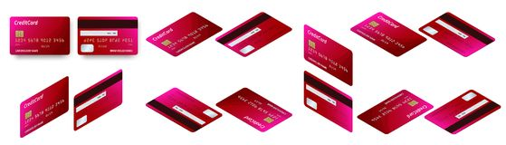 Vector isometric set of Templates of credit cards design. Plastic credit card or debit card. Vector isometric set of Templates of credit cards design. Plastic Stock Images