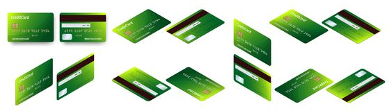 Vector isometric set of Templates of credit cards design. Plastic credit card or debit card. Vector isometric set of Templates of credit cards design. Plastic Royalty Free Stock Photos