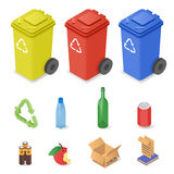 Vector isometric set of waste sorting cans. Stock Photography