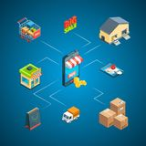 Vector isometric shipping and delivery icons infographic concept illustration royalty free illustration