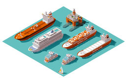Vector isometric ships and oil rig. Isometric icons representing nautical transport