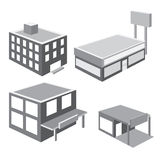 Vector of isometric shop and apartment illustrator Stock Images