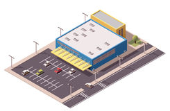 Vector isometric shopping mall Stock Photos