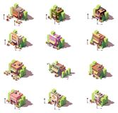 Vector isometric shops icon set Royalty Free Stock Photos