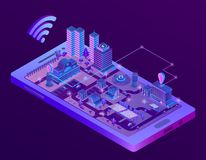 Vector isometric smart city on smartphone screen. Vector 3d isometric smart city on smartphone screen, town map with navigation markers in ultra violet colors vector illustration