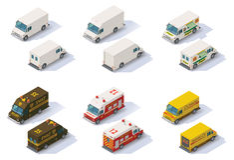 Free Vector Isometric Step Vans Set Stock Photos - 54506343