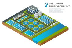 Vector isometric storage tanks in sewage water treatment plant. Dirty wastewater. Discharge of liquid chemical waste. The danger for the environment Stock Photography