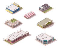 Vector isometric stores set. Vector isometric shopping malls and supermarkets buildings set Stock Photo