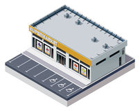 Vector isometric supermarket building Royalty Free Stock Photos