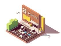 Vector isometric supermarket car parking lot vector illustration
