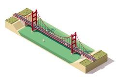 Vector isometric suspension bridge. Isometric suspension bridge over the river Royalty Free Stock Images