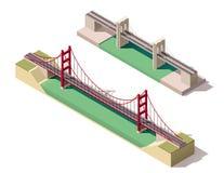 Vector isometric suspension bridge. Isometric suspension bridge over the river Royalty Free Stock Photography
