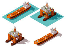 Vector isometric tanker and oil rig Royalty Free Stock Images
