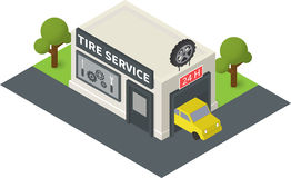 Vector isometric tire service Stock Images
