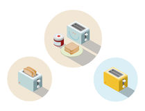 Vector isometric toaster, kitchen equipment icon, home constructor element. Stock Images