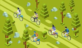Vector isometric tourists group bicycling forest. Vector isometric tourists men women cycling together, travelling by bicycle bags for camping on forest, park Royalty Free Stock Images