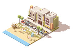 Vector isometric town beach Royalty Free Stock Image