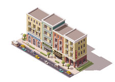 Vector isometric town street. Isometric town street with tourism related buildings vector illustration