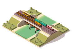 Vector isometric train bridge Royalty Free Stock Images
