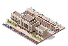 Vector isometric train station. Isometric icon representing train station building Royalty Free Stock Photo