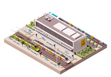 Vector isometric train station Royalty Free Stock Images