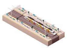 Vector isometric train station Royalty Free Stock Photo