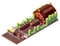 Vector isometric tram depot building Royalty Free Stock Images