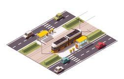 Vector isometric tram station Stock Photos