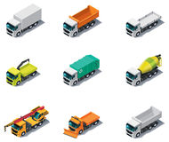 Vector isometric transport. Trucks. Set of isometric generic trucks (different types Stock Image