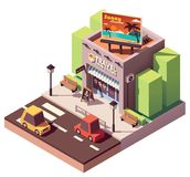 Vector isometric travel agency. Office with tourism related billboard vector illustration