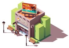 Vector isometric travel agency. Office with tourism related billboard stock illustration