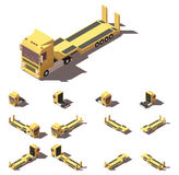 Vector isometric truck with lowboy semi-trailer icon set Royalty Free Stock Photography