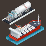 Vector isometric truck with tanker and sea tanker with cargo cistern and helicopter pad. Royalty Free Stock Photography