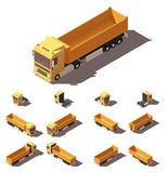 Vector isometric truck with tipper semi-trailer icon set Royalty Free Stock Images