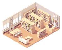 Vector isometric university library. Vector isometric school, college or university library interior cross-section. Bookshelves with piles of books, sofa, desk vector illustration