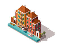 Vector isometric Venice street Stock Photography