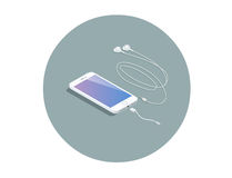 Vector isometric white smartphone with headphone adapter. Royalty Free Stock Photos