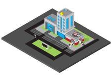 Vector isometrico della costruzione dell'ospedale con il furgone dell'ambulanza Immagine Stock