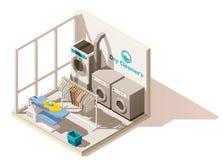 Vector isometrisch laag poly commercieel wasserijpictogram stock illustratie