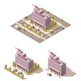 Vector isometrisch laag poly het ziekenhuispictogram Royalty-vrije Stock Afbeelding