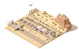 Vector isometrisch laag poly infographic element die kaart van militaire luchthaven of luchtmachtbasis met straalvechters vertege stock illustratie