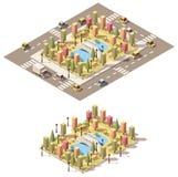 Vector isometrisch laag poly stedelijk park Royalty-vrije Stock Afbeelding