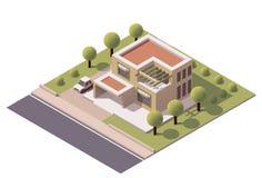 Vector isometrisch modern huis Stock Foto's