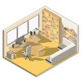 Vector isometrisch ontwerp van een huisbureau stock illustratie