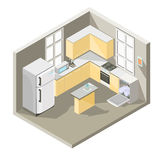 Vector isometrisch ontwerp van een keuken vector illustratie