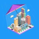 Vector isometrisch pictogram Wolkenkrabbers en gebouwen Royalty-vrije Stock Afbeelding